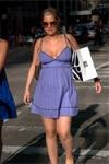 blonde in purple dress